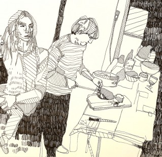 dinner 30x50 ink on paper 2013
